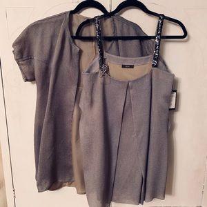 Rare Vera Wang Taupe Silk Top Set